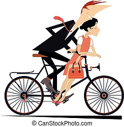 Romantic young couple rides on the bike isolated illustration
