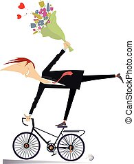 Romantic young man rides on the bike isolated illustration
