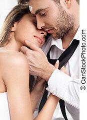 romantico, amanti, bello, coppia