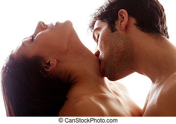 romantico, bacio, su, gola