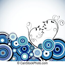 romantico, blu, rings., floreale, fondo., vettore