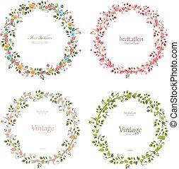 romantico, collezione, ghirlande, floreale, tuo, design.