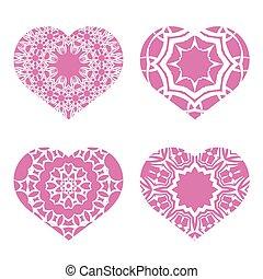 romantico, cuore, rosa, valentines, day., set., simbolo