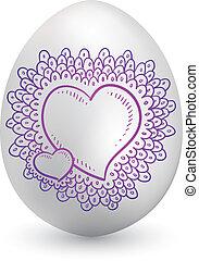 romantico, cuore, su, uovo di pasqua