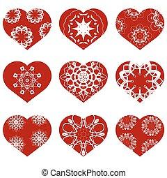 romantico, cuore, valentines, day., rosso, set., simbolo