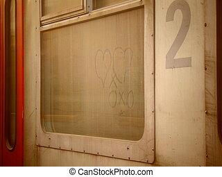 romantico, cuori, disegnato, su, uno, sporco, treno, finestra