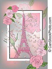 romantico, design., fondo, torre, rose, manifesto, eiffel, francia, vendemmia