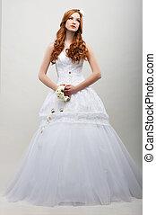 romantico, fidanzata, mazzolino, lungo, sensuality., fiori bianchi, vestire