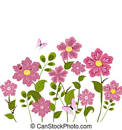 romantico, floreale, prato
