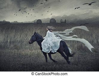 romantico, giovane, bellezza, sentiero per cavalcate, uno, cavallo