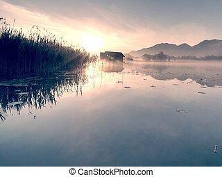 romantico, kochelsee, riflessione lago, alba, boathouses., contro