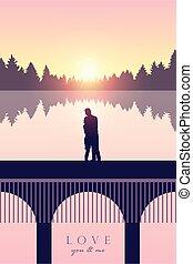 romantico, ponte, tramonto, mare, amore, coppia