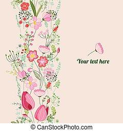 romantico, primavera, template., floreale, posters., disegno, annunci, cartoline