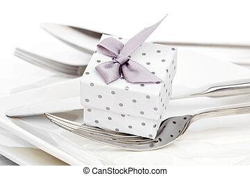 romantico, regalo, tavola, valentines, celebra, giorno, ...