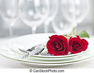 romantico, ristorante, montaggio cena