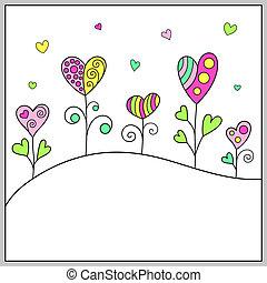 romantico, scarabocchiare, message., hand-drawn, sagoma, cuori