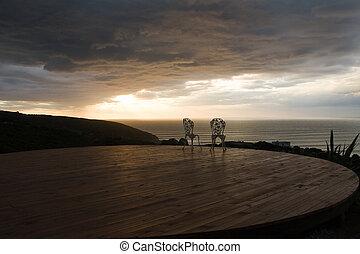 romantico, sedia, coppia