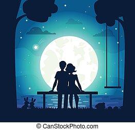 romantico, seduta, coppia, spiaggia, chiaro di luna, sotto