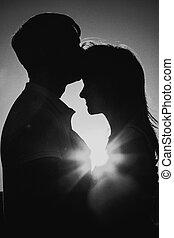 romantico, silhouette, nero, do, fondo, fotografia, baciare...