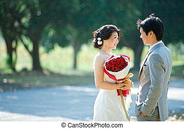 romantico, sposa sposo, altro, vedere, occhi