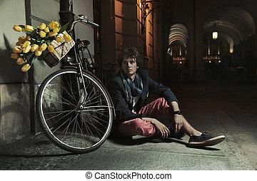 romantico, stile, foto, di, uno, bello, uomo
