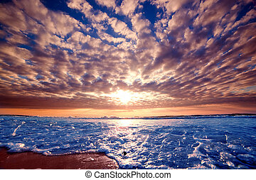 romantico, tramonto oceano