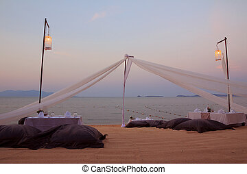 romantico, tropicale, montaggio cena, spiaggia tramonto