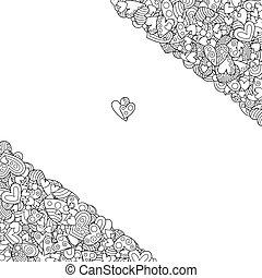 romantico, uncolored, scarabocchiare, message., hand-drawn, sagoma, cuori