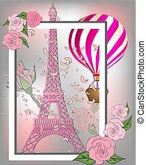 romantico, vendemmia, eiffel, francia, roses., fondo, manifesto, torre, design.