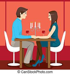 romanticos, aniversário, jantar