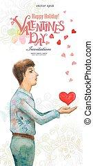 romanticos, aquarela, cartão cumprimento, com, um, homem jovem