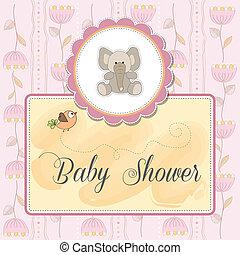 romanticos, bebê, anúncio, cartão
