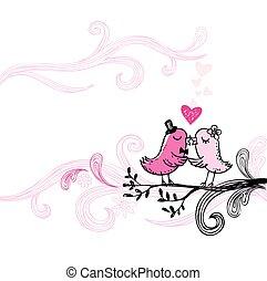 romanticos, beijando, birds.