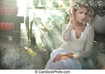 romanticos, beleza, loura, estilo, deslumbrante, foto