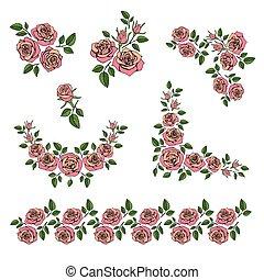 romanticos, buquê casamento, com, rosas vermelhas, vetorial, jogo