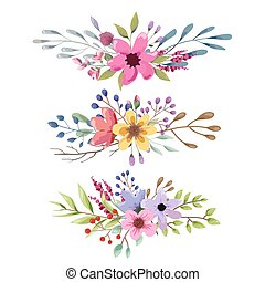 romanticos, buquet, collection., folhas, aquarela, flowers., casório, floral