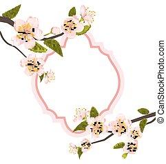 romanticos, cartão, com, florescer, filiais árvore