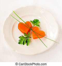romanticos, cenoura, baixo, jantar, corações, caloria