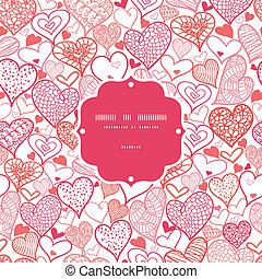 romanticos, doodle, quadro, seamless, padrão experiência, corações
