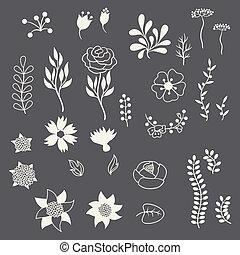 romanticos, elementos florais, vário, flores, em, retro,...