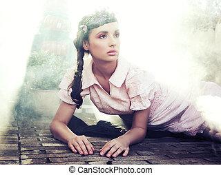 romanticos, estilo, retrato, de, um, jovem, morena, beleza