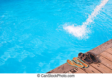 romanticos, férias, perto, piscina, em, luxo, hotel