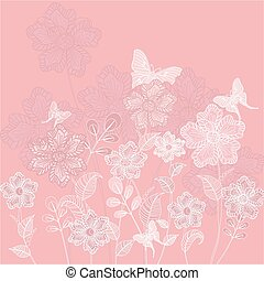 romanticos, floral, decorativo, fundo, com, borboletas