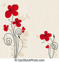 romanticos, floral, fundo