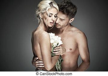romanticos, foto, de, pelado, par