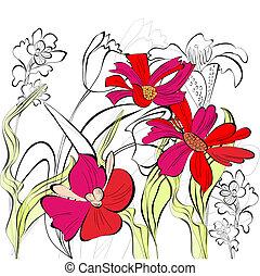 romanticos, fundo, com, bonito, flores