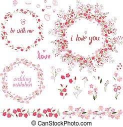 romanticos, jogo, com, elementos florais, redondo, bordas, feito, de, rosas