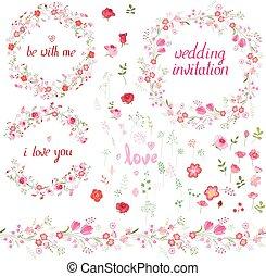 romanticos, jogo, com, elementos florais, redondo, bordas, feito, de, rosas, infinito, padrão, escovas, e, frase, i, amor, you.