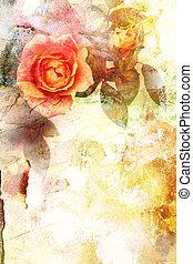 romanticos, laranja, rosas, fundo