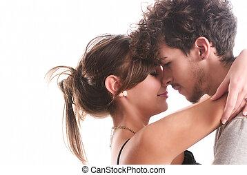 romanticos, moda, par jovem, ficar, junto, ligado, isolado,...